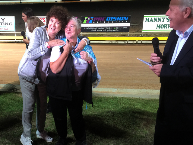 GRV Deputy Chair Judith Bornstein embraces Terri Morris after Jessulenko's win