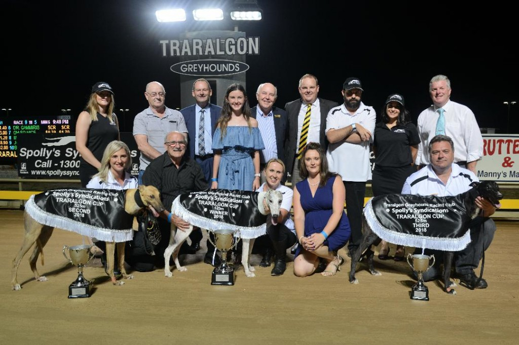 Traralgon Cup placegetters Poke The Bear (centre), Monster Fish (left) and Reckoning with connections and officials.